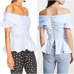 Jonathan Wrapped Oxford Off Shoulder Peplum Top